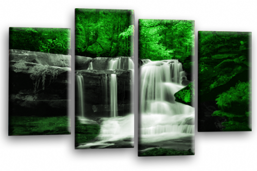 Forest Waterfall Canvas Wall Art Picture Print Green Black Grey